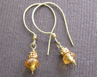 18K Gold Golden Sapphire Earrings Delicate Petite