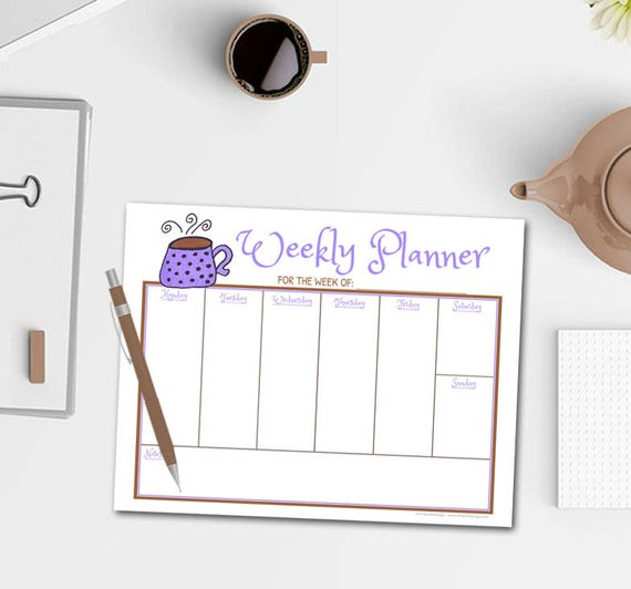 Coffee Mug Weekly Planner Notepad