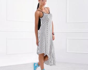 Asymmetrical Dress/ Striped Dress/ Off Shoulder Dress/ Summer Dress/ Black White Dress/ Casual Dress/ Midi Dress/ Loose Dress/FriendsFashion