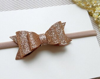 Gold headband, baby headband, gold baby hair bow, baby girl bow, christening, baby shower, baby girl birthday, gold bow, gold headband, bow