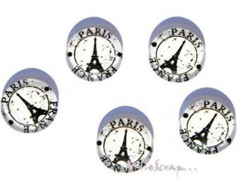 Set of 5 glass embellishment scrapbooking Paris cabochons *.