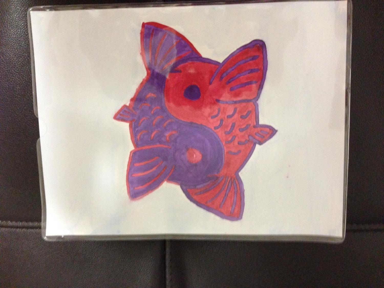 Red & Purple Yin-Yang Koi Fish Watercolor Painting