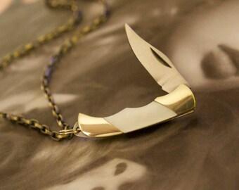 Mini Pocket Knife Necklace Pendant » Miniature Pocket Knife » White Mother of Pearl Knife » Knife Charm » Pen Knife Necklace » Vintage Style