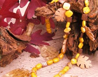 Autumn Leaves Beaded Necklace Gypsy Boho Beaded