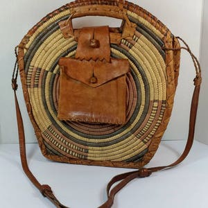 Vintage African straw Raffia and leather clutch or cross-body purse African crossbody purse vintage African clutch purse African handbag