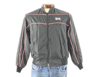 Vintage 80s Champion Racing Jacket Mens Outerwear Black Coat 1980s Auto Sports Medium M