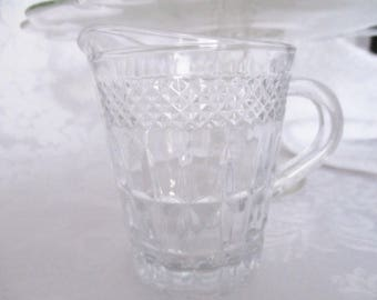 IMPERIAL CAPE COD glass jug, clear glass mini cream jug for tea parties, weddings, luncheons, excellent condition