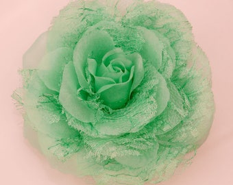 Vintage Mint Green Rose with lace and tulle Magnetic Hold Pinless Posie