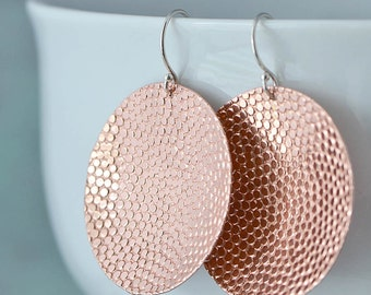 Copper Earrings - Copper Circle Earrings - Dangle Earrings - Copper Jewelry - Patterned Texture - Disk Earrings, Gift For Her