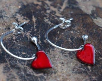 Red Enamel Heart Hoop Earrings.