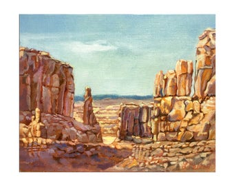 Arches National Park, Park Avenue, Sand stone mountain , oil painting, wall art, wall decor, original art, canyon lands, Zions
