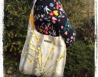 Vintage barkcloth fabric slouchy shoulder bag - Forsythia with mustard velvet lined