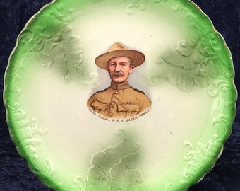 Unique Antique Plate, Commemorative Plate, Green and White, Major General, RSS Baden- Powell, Founder of Scout Movement, Historical Antique