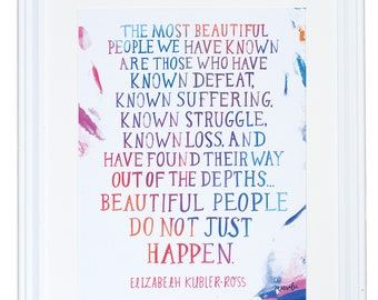 Inspirational Quote, Elisabeth Kubler Ross, Watercolor Painting, My Friend Fear, Meera Lee Patel