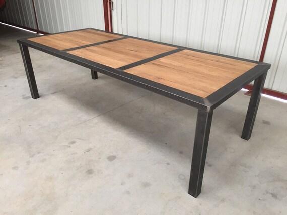 Table de salle manger metal et bois avec ou sans rallonge for Fabriquer table salle manger bois