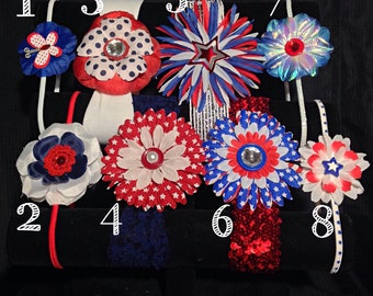 Handmade Floral Red-White-Blue Headbands, Clips, and Scrunchies