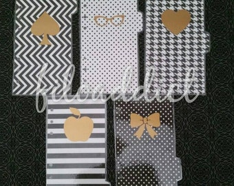 Pocket Size Planner Dividers - 5 side tabs - Black and White with Gold accents