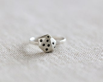 Silver and Black Spinel Nugget Ring