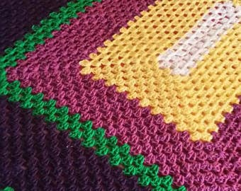 Purple,  Green  and Yellow Afghan