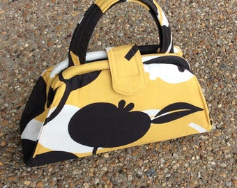 Gold and Brown Fruit Print Handbag