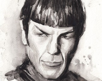 Spock Watercolor Art Print Spock Portrait Spock Painting Art Print Star Trek Art Star Trek Print Black and White, Leonard Nimoy Art