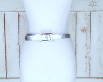 Vintage metallic silver foil vinyl belt