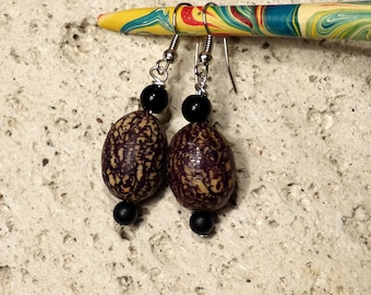Tahiti Palm seeds earrings