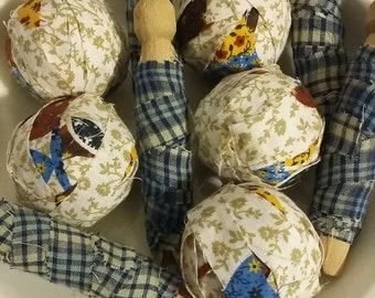 Primitive rag balls counry rag balls and clothes Peg ornaments blue plaid colors