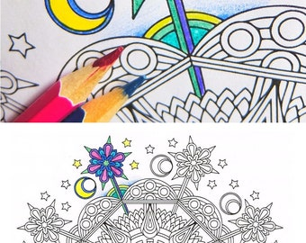 Mandala Coloring Page - Enchanted Evening - instant download mandala art all-ages coloring page; rainy day and under the weather activity