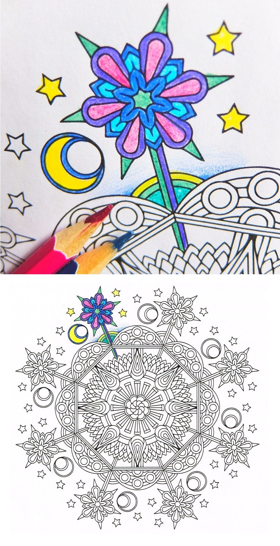 Mandala Coloring Page Enchanted Evening instant download