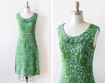 60s mod dress, vintage 1960s dress, blue and green floral linen dress, small s