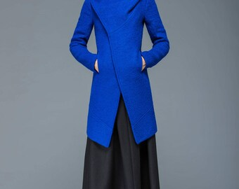 cowl neck coat, womens jacket, cobalt blue coat, asymmetrical coat, loose jacket, wool coat, short jacket, winter warm coat C1172