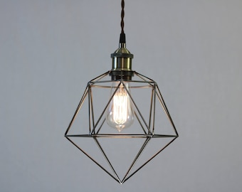 Modern geometric pendant light cage, 12 feet of twisted brown cotton covered cord with black ceiling canopy