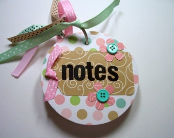 Pink and Green Chipboard Notebook, Mini Notebook, Mini Journal, Round Notebook, Blank Pages, Notebbok, Journal, Notes, Chipboard Notebook