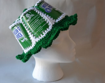 Recycled Rolling Rock crocheted beer can hat
