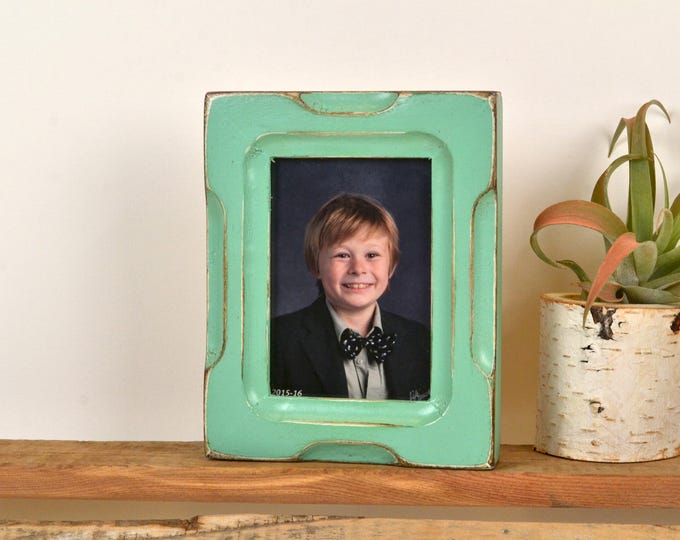 """Wallet Photo Frame 2.5 x 3.5"""" ACEO Card Size Picture Frame in Shallow Bones Style with Vintage Robin's Egg Finish - Can Be Any Color"""