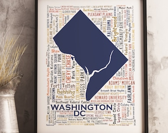 Washington DC Typography Map Art Print, Washington DC Poster Print, Washington DC neighborhood map print, Choose your color and size