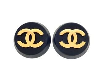 Authentic vintage Chanel earrings black round gold CC logo #ea2012