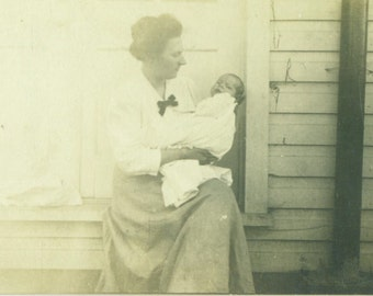 Mother Holding Infant Baby Daughter Sitting Outside Home Antique RPPC Real Photo Postcard Vintage Black White Photo Photograph