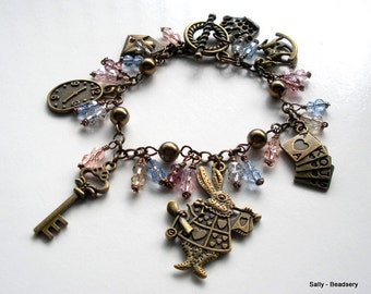 Bead Charm Bracelet, Brass Charm Bracelet, Rabbit Bracelet, Crystal Charm Bracelet, Swarovski Elements Pearl Bracelet