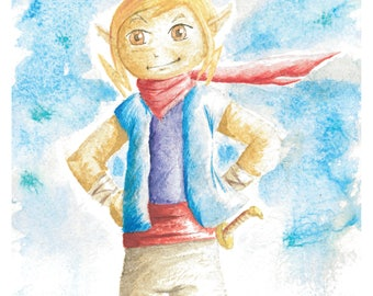 Tetra Legend of Zelda Wind Waker Watercolor 8x10 Art Print