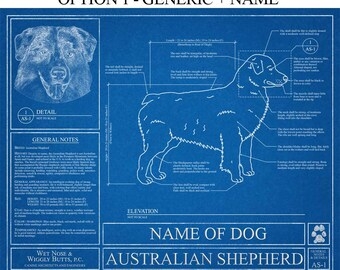 Personalized dog blueprints custom pet by wetnosewigglybutts personalized miniature american shepherd blueprint american shepherd art american shepherd wall art american shepherd gift print malvernweather Images
