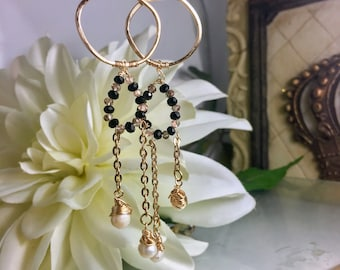 Wire wrapped Edwardian style Earrings with Czechoslovakian glass and Freshwater Pearls
