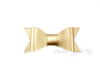 Gold Faux Leather Bows 2-1/2 inches- Gold Leather Bow, Gold Leather Hair, Gold Faux Leather, Gold Leather Bow Headband, Gold Leather Bow Tie