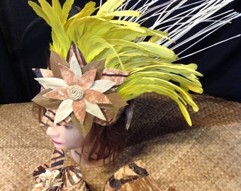 Tahitian & Cook Islands Authentic Tapa Cloth Costume Set. One Bra Top And One Matching Headpiece. Perfect For Dancers, Soloist.