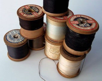 Vintage Neutrals Sewing Threads - instant collection - Craft Supplies