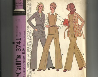 McCalls' Misses' Unlined Jacket, Vest and Pants Pattern 3741