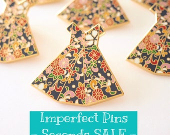 SECONDS SALE* - IMPERFECT Origami Dress lapel pin- Hard Enamel Pins, B-grade, Dress Brooch, Flair