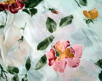 FABRIC Silk Burnout Floral White/Red/Pink/Salmon/Green - fabric