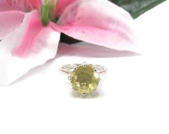 Yellow Quartz Ring - Yellow Gemstone Statement Ring - Lemon Quartz Ring - Sterling Silver Yellow Gemstone Ring - Lemon Quartz Jewelry